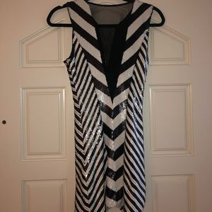Bebe Mod Black and White Stripe Mini Dress